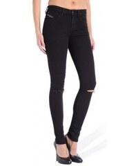 Slim černé džíny s dírou na koleni Diesel SKINZEE 3d1d019980