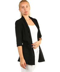 0e3eea4346c YooY Dámské jednobarevné sako bez zapínání (černá