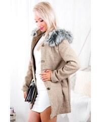 Trendovo Vlnený jesenný kabát 1950 béžová šedá 983bb0d6150