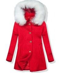Trendovo Vlnený jesenný kabát 1950 červená biela 2ea93f23192