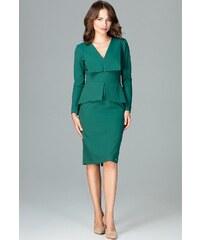 LENITIF Zelené šaty s límcem K491 Green 01d0553f5b