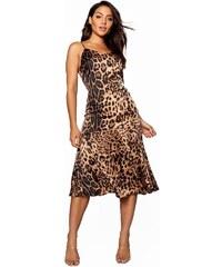 35f84ab5531 BOOHOO Leopardní midi šaty s volánkem