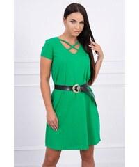 MladaModa Voľné šaty s opaskom zelené 969da5cbc4c