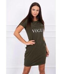 MladaModa Šaty s krátkym rukávom s nápisom VOGUE khaki 52792e92cbb