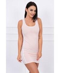 a91c699e0dd8 MladaModa Športové šaty s dvojitým pruhom na boku pudrovo ružové