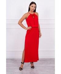 MladaModa Šaty v boho štýle s rázporkom červené 1d34d7252bb