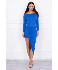 MladaModa Asymetrické šaty s 3 4 rukávom farba kráľovská modrá 3690931a9ae