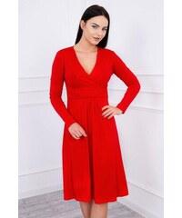 MladaModa Voľné šaty s preväzom pod hrudníkom model 8315 červené bef7fcc289