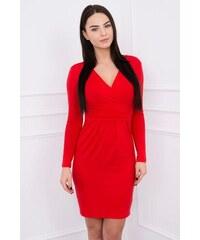 MladaModa Obtiahnuté šaty s preväzom pod hrudníkom model 8138 červené f50f3a457d