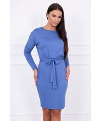 MladaModa Obtiahnuté šaty s viazankou v páse model 8926 farba džínsová 649bc14bbc