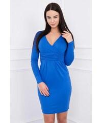 MladaModa Obtiahnuté šaty s preväzom pod hrudníkom model 8138 modré 2cdff060aea
