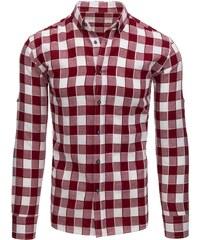 c0e8b0a9d1da Bordovo-biela košeľa pánska kockovaná