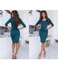 LaraRuby.sk Elegantné púzdrové šaty s čipkovaným golierikom Rachel 484d507e516