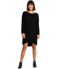 c54b41427d77 BeKnit Čierne svetrové asymetrické šaty s dlhým rukávom BK006