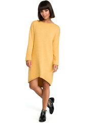 9dd58085546d BeKnit Tmavožlté svetrové asymetrické šaty s dlhým rukávom BK006
