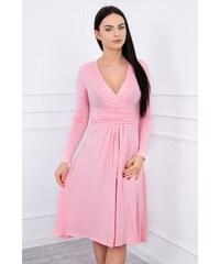 2057a44472ff MladaModa Voľné šaty s preväzom pod hrudníkom model 8315 pudrovo ružové