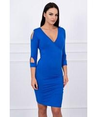 086eb7e89f88 MladaModa Šaty s riasením a odhalenými rukávmi farba kráľovská modrá