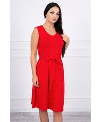MladaModa Trapézové šaty s viazankou v páse červené 10bdf4784d