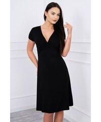 584f58c3998 MladaModa Šaty s ozdobným viazaním pod prsiami čierne