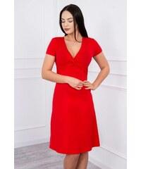 6e2c6780e45a MladaModa Šaty s ozdobným viazaním pod prsiami červené