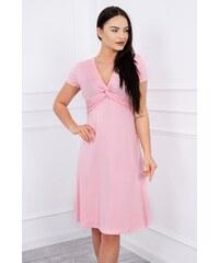 3d84d15bf1f3 MladaModa Šaty s ozdobným viazaním pod prsiami pudrovo ružové
