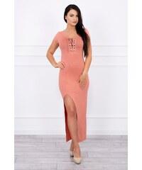 MladaModa Šaty s asymetrickým výrezom marhuľové 5afec263990