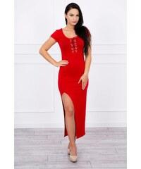 MladaModa Šaty s asymetrickým výrezom červené 74f8ab68c5