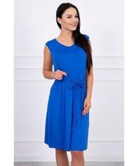 MladaModa Trapézové šaty s viazankou v páse farba kráľovská modrá 752cf600a4