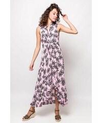 Rouzit Dlhé ružové košeľové šaty so vzorom palmových listov f9fc717747e