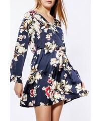 64055091758f Rouzit Krátke tmavomodré kvetované šaty s dlhým rukávom
