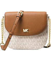 Michael Kors Mott Leather Dome Crossbody Logo Vanilla Acorn 6f41be24244