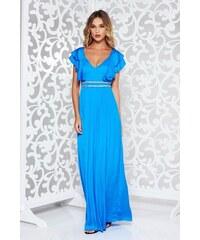 StarShinerS Kék alkalmi hosszú harang ruha szatén anyagból mély dekoltázs 93ee65c6a8