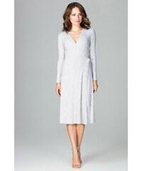 e44799fac03a Úpletové zavinovací šaty Lenitif K465 šedé