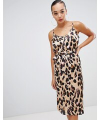 Boohoo satin slip midi dress in leopard - Brown 940b889bfe