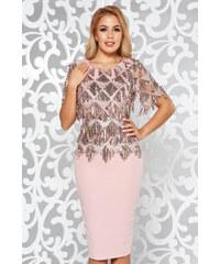 StarShinerS Rózsaszínű alkalmi ceruza ruha flitteres díszítés elől hímzett 80ced8f4e7