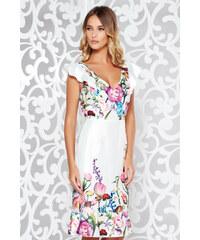 Fehér StarShinerS elegáns ruha szatén anyagból v-dekoltázzsal fodrok a ruha  alján fcf410f22d