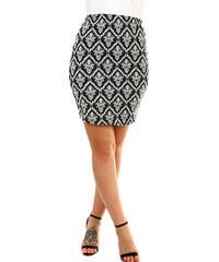 e8c0f6fdc7a4 Glara Dámská černobílá sukně s ornamentálním vzorem