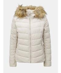 Krémová prešívaná zimná bunda s umelým kožúškom ONLY Ellan 70c56f6bb09