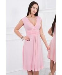 2de50f87dd77 MladaModa Šaty model 8288 s preväzom pod hrudníkom ružové