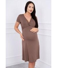 62f444197e02 MladaModa Šaty s ozdobným viazaním pod prsiami farba cappuccino