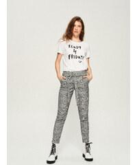 Sinsay - Bavlnené tričko s potlačou - Biela efe0156d9b0