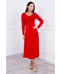MladaModa Šaty model 62245 s oblým výstrihom a vreckami červené 9b310abcb0