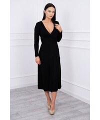 14bad37874ab MladaModa Rovné šaty s hlbokým výstrihom v tvare V čierne