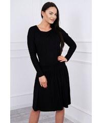 01f435cd9b9c MladaModa Šaty s rozšírenou spodnou časťou a dlhým rukávom čierne