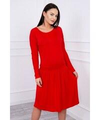 MladaModa Šaty s rozšírenou spodnou časťou a dlhým rukávom červené 69f33b90f2f
