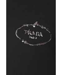 eddbfc6756 Černé regular fit tričko PRADA s výšivkou a potiskem