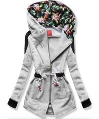 MODOVO Hosszú női kapucnis pulóver D542 szürke ddb100f2d0