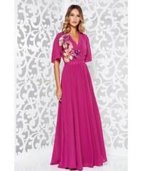 Fukszia StarShinerS ruha alkalmi fátyol belső béléssel derékban rugalmas bő  ujjú 45c3cf0fd0