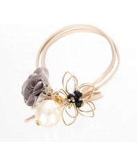 6c56a24f362 Fashion Icon Gumička do vlasů dvouřadá s květinou a perlou kovová zlatá