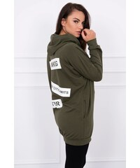 216c3f9e8d9f MladaModa Mikina so zipsom a kapucňou s nápismi na chrbte khaki